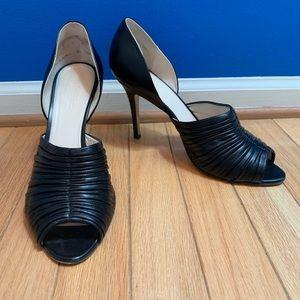MaxMara Black Leather Peep Toe Heels